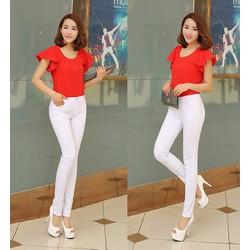 EQ250 Quần jean trắng lưng cao 1 nút đơn giản