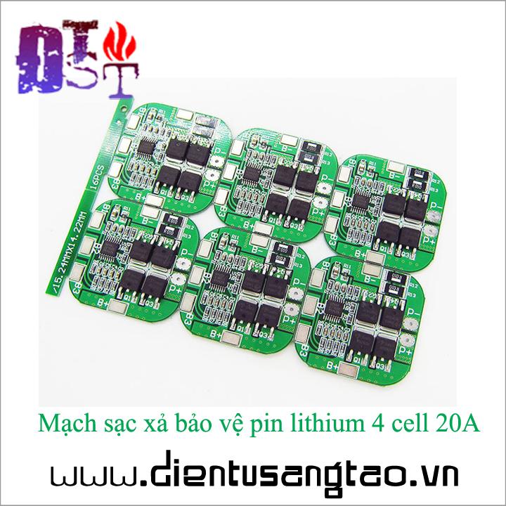 Mạch sạc xả bảo vệ pin lithium 4 cell 20A 3