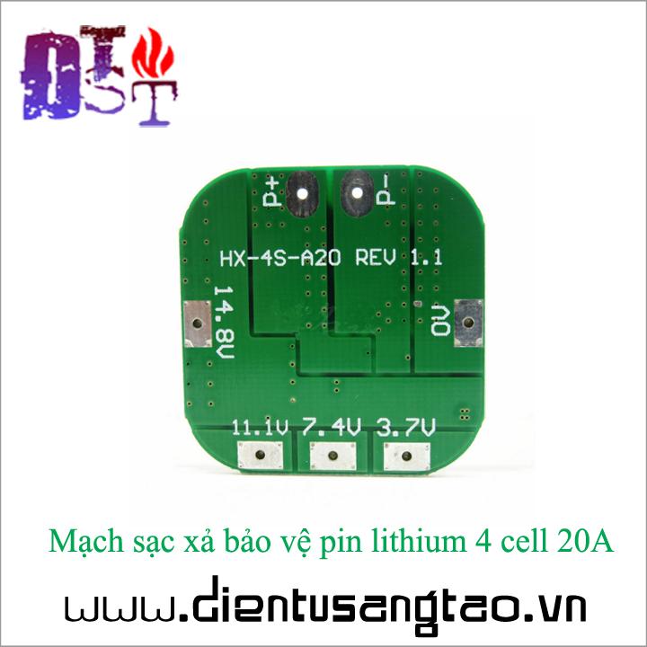 Mạch sạc xả bảo vệ pin lithium 4 cell 20A 2