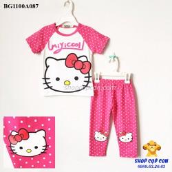 Size 1-8. Bộ quần dài mèo kitty màu hồng chấm bi