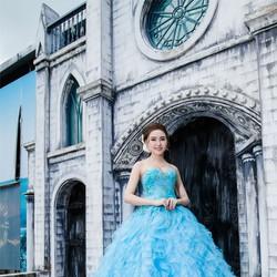 Áo Cưới Tùng Xòe Màu Xanh Tại Minh Phương Bridal