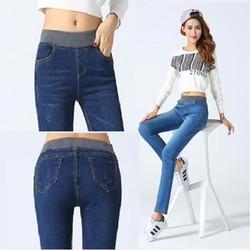 Quần Jeans Cạp Chun,Người Bụng To,VảiCo Giãncaocấp,lung,nút,thêu,,rach