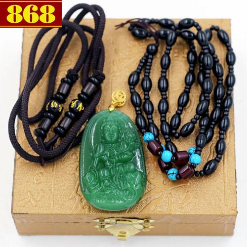 Dây chuyền Phật bản mệnh Phổ Hiền Bồ Tát 5 cm xanh hộp gỗ