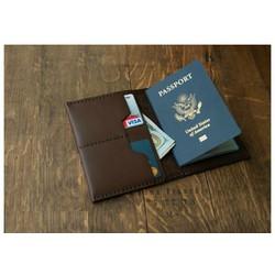 Ví đựng passport da bò thật handmade