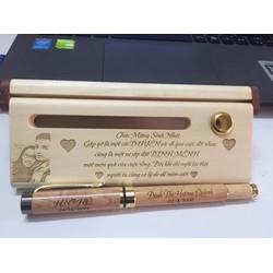 Bút gỗ mực nước khắc tên