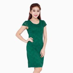 Đầm body ren màu xanh size M