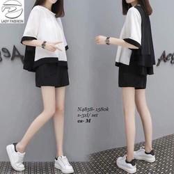Sét bộ áo phối trắng đen và quần sort