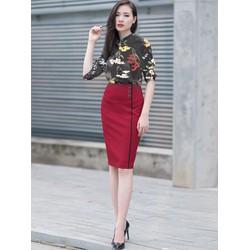 Set Chân Váy Áo Sơ Mi Hoa