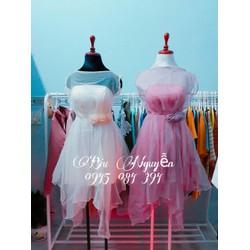 Đầm xòe lưới phối nơ công chúa