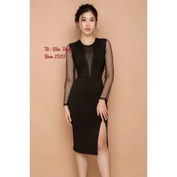 Đầm body đen phối lưới bi xẻ tà