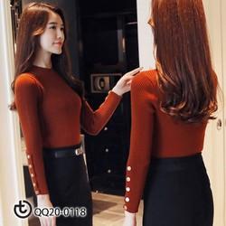 áo len tay cúc dọc