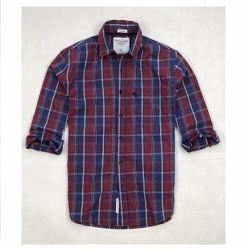 Áo sơ mi nam sọc caro màu đỏ vải cotton mềm không đổ lông