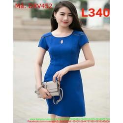 Đầm xòe công sở màu xanh khoét giọt nước xinh đẹp DXV452