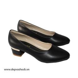 Giày cao gót big size gót vuông 5cm màu đen thời trang thanh lịch depvashock