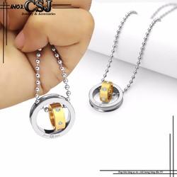 Mặt dây chuyền inox 2 chiếc nhẫn lồng màu vàng