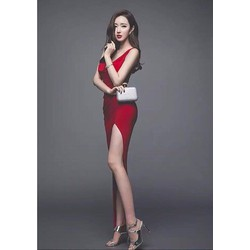 HÀNG CAO CẤP-Đầm dài dự tiệc cướithiết kê cỗ đỗ ôm body xẻ tà màu đỏ
