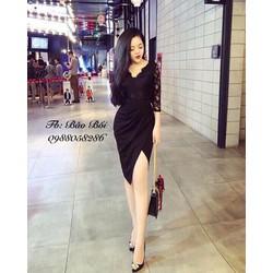 Đầm body ren xéo tà