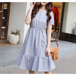 Đầm Tay Con Tùng Xòe Cách Điệu Kèm Dây Nơ - Xanh #99273