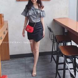 Set áo caro lệch vai phối cùng chân váy-TBL1013
