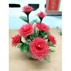 hoa hồng làm từ vải voan