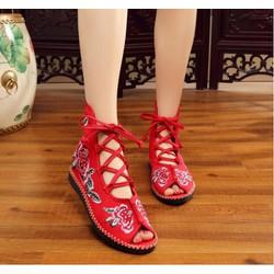 Giày Thêu Hoa Hồng Đan Dây Rất Đẹp