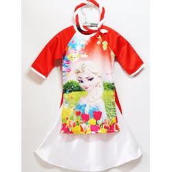 Bộ áo dài cách tân công chúa Elsa,kèm váy và mấn cho bé gái
