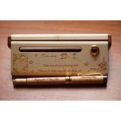 Combo hộp bút gỗ khắc tên| Quà tặng ngày nhà giáo Việt Nam