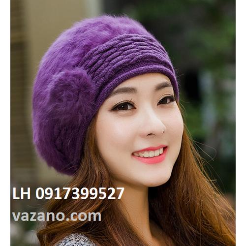 Nón bere nữ mũ bere len lông thỏ nam nữ Hàn QUốc  thời trang L12NL109