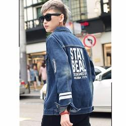 áo khoác jeans rách kẻ sọc stay Mã: NK1094 - XANH ĐẬM