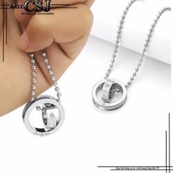 Mặt dây chuyền inox 2 chiếc nhẫn lồng màu trắng