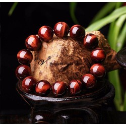 Vòng tay  phong thủy đá mắt hổ đỏ  thiên nhiên  12mm