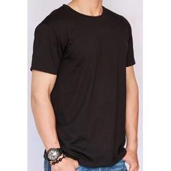 Áo thun nam trơn cotton form rộng - Màu đen