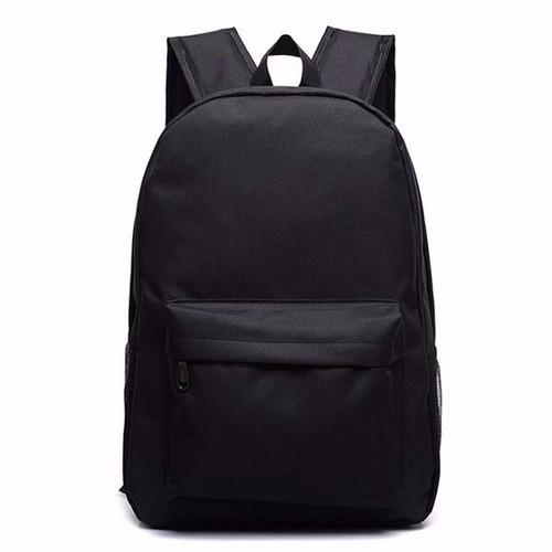 Balo đi học nam nữ vải dù màu trơn đen n148