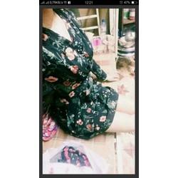 Đầm Voan Hoa Ngực Đắp Chéo