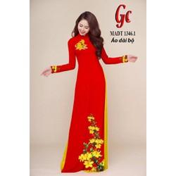 Vải Áo Dài Gía Sốc - Bộ vải áo dài Hoa Mai Nhiều Màu - Chất Tơ Ý