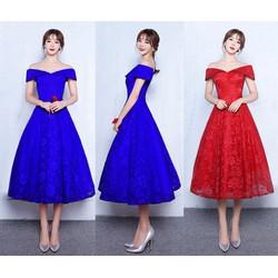 Đầm ren xòe dáng dài trể vai
