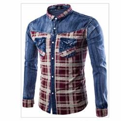 áo sơ mi denim sọc caro Mã: NM593 - ĐỎ