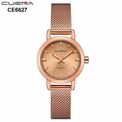 Đồng hồ nữ CUENA 6627 dây thép lụa mặt kính lồi thời trang