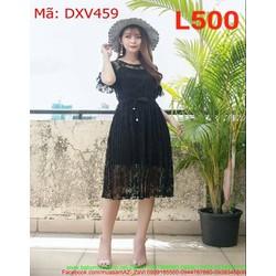 Đầm xòe dự tiệc màu đen ren nổi sành điệu DXV459
