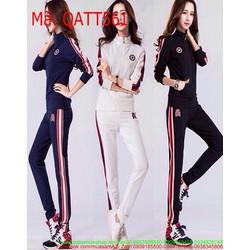 Bộ thể thao nữ dài áo khoác kéo khóa phối quần dài sọc QATT561