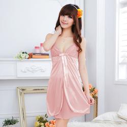 Đầm ngủ phi thun ren ngực xẻ tà CDAN47