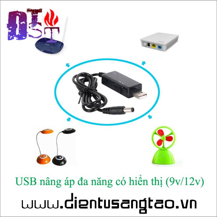 USB nâng áp đa năng có hiển thị 9v 12v 2