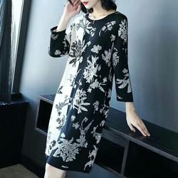 Đầm len hoa dệt kim