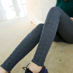 Quần legging dày lót lông đính ren