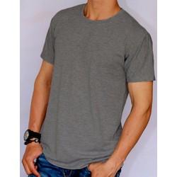 Áo thun nam ngắn tay cotton form rộng - Xám đen