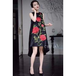 HÀNG MỚI-Đầm suông tà tôm in hoa hồng 3D