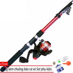 Bộ cần câu 2m4 và máy câu cá tặng kèm phụ kiện câu cá
