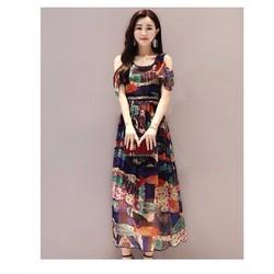 Đầm Maxi họa tiết rớt vai