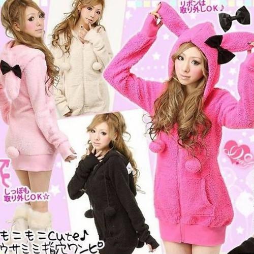 Áo khoác tai thỏ form dài tặng kèm nơ - Hồng phấn-Hồng sen