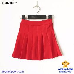 Size 9-14. Chân váy xếp ly màu đỏ